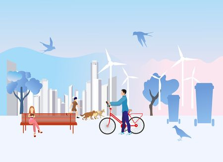 Summer city park area with people in the foreground and modern buildings in the background.  vector illustration.