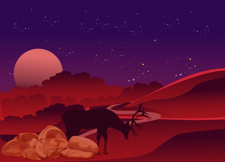Vector illustration, Hand Drawn Night forest,deer and mounains silhouette,  with moon and stars on the sky 스톡 콘텐츠 - 127328308