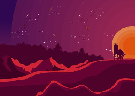 Vector illustration, Hand Drawn Night forest,wolf and mounains silhouette,  with moon and stars on the sky 스톡 콘텐츠 - 127328309