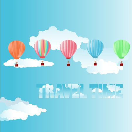 Colored air hot baloons set on blue clouded sky background 일러스트