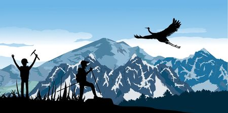 Eco Tourism concept design Wild mountain, climbers tourists silhouette, mountains and forest silhouette, vector