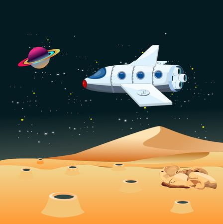 Space exploration scene, fiture space theme, space ship over allien planet 스톡 콘텐츠 - 127328317