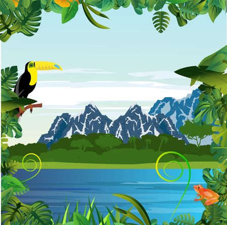 Summer Time Holiday and travel illustration with toucano bird on jungle mountains background. Tropical floral frame with blue sky. Design template 스톡 콘텐츠 - 127328321