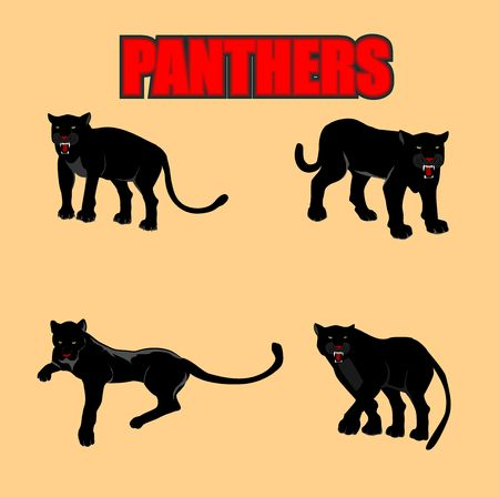 Black panthers set, isolated vector illustration 스톡 콘텐츠 - 127328323