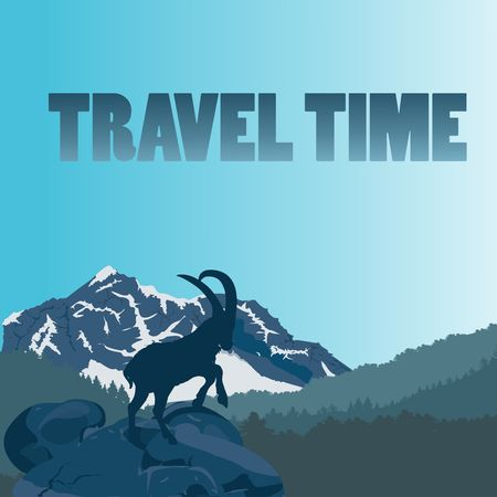 Wild mountain, goat silhouette, mountains and forest silhouette, travel concept design, vector Illustration