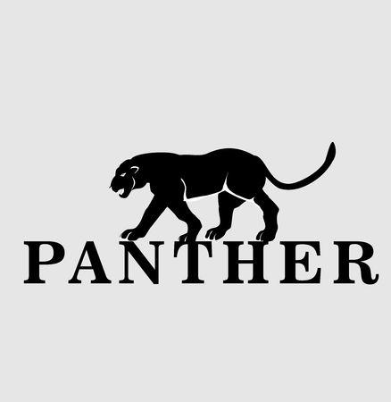 Vector walking on word panther, walking-vector