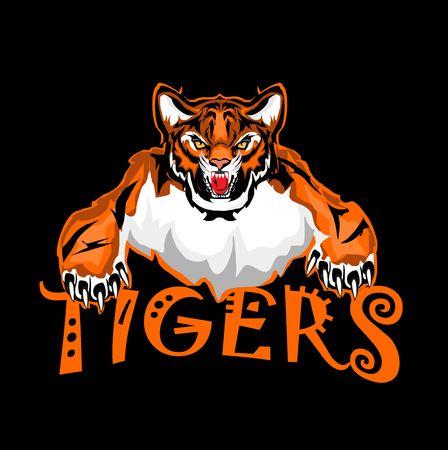 Vector tiger sport emblem, isolated on black background.