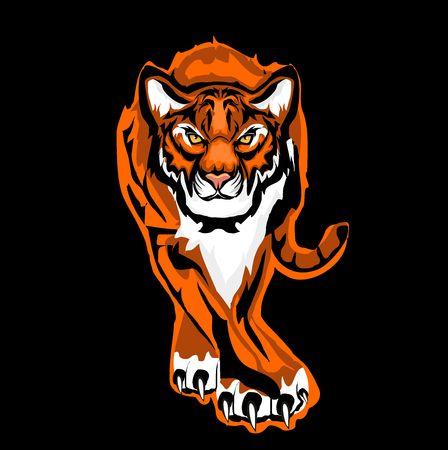 Walking vector tiger from dark, logo.