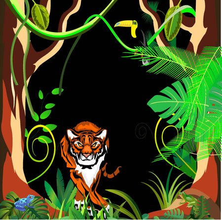 Tiger in night jungle, jungle plants frame in background, vector illustration