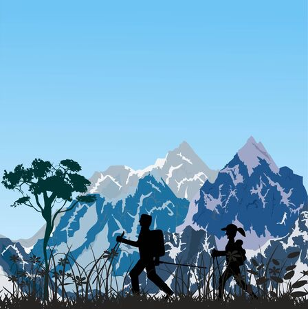 Silhouettes of the Tourists walking in the mountain landscape, travel theme vector illustration 스톡 콘텐츠 - 127328245