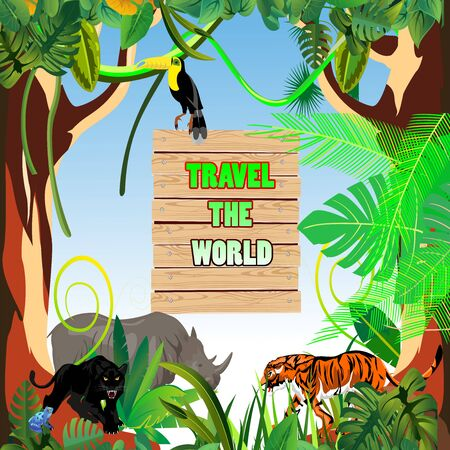 Time and travel template design, jungle wildlife, tropical floral frame and animals, vector 스톡 콘텐츠 - 127328246