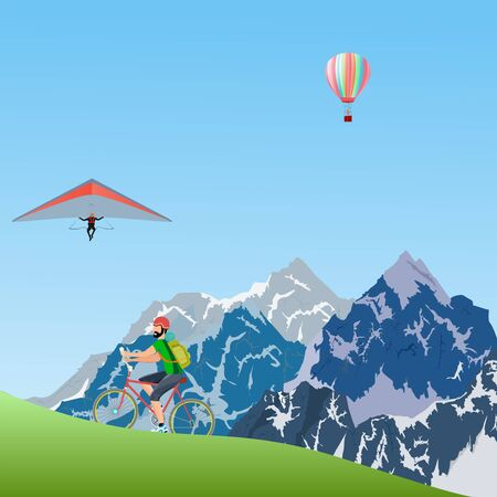 Cyclist Tourists riding in the mountain landscape, travel theme vector illustration
