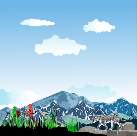 Tourists climbers walking in the mountain landscape, travel theme vector illustration Stock Illustratie