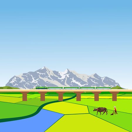 Countryside landscape, bridge wit train and mountains in horizon, green fields, vector