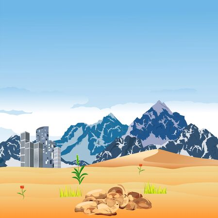 A city in the desert sands, mountains in background, vector illustration 일러스트