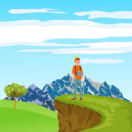 A photographer tourist standind in beautiful nature landscape, vector