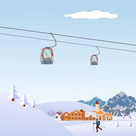 Winter snowy landscape Flat Style Beautiful Landscape Illustration, with Little Town 스톡 콘텐츠 - 127328276