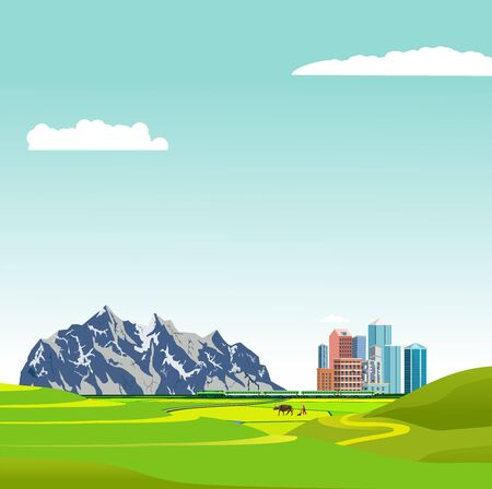 City buildings in the green horizon on the edge of green fields, mountains in background, vector illustration 일러스트