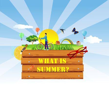 Summer time concept flat vector illustration