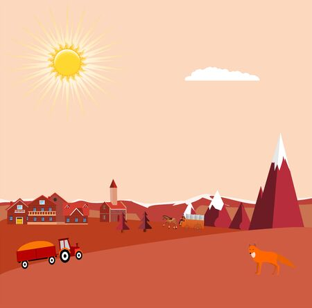 Flat vector illustration of Countryside, Farm Landscape in Autumn time. Vector Design.