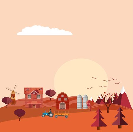 Flat vector illustration of Countryside, Farm Landscape in Autumn time. Vector Design. 스톡 콘텐츠 - 127328196