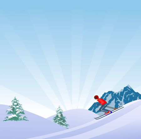 Flat Style Beautiful Alps Landscape Illustration, with skier on slope of the hill vector 스톡 콘텐츠 - 127328209