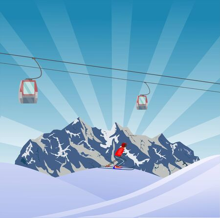 Flat Style Beautiful Alps Landscape Illustration, snowy mountains, with skier on slope of the hill vector 일러스트