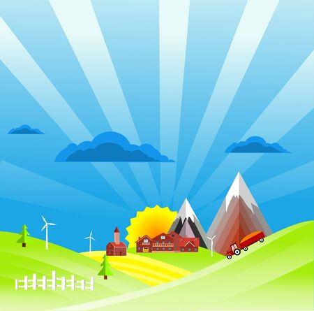 Flat illustration of Countryside view in summer Landscape vector.Blue sky backround and Sun and sun rays 스톡 콘텐츠 - 127328213