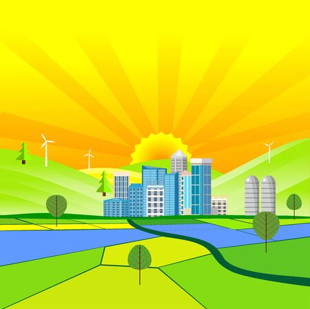 Flat illustration of City buildings in horizon  Countryside view, city  on summer Landscape vector. Sun and sun rays 일러스트