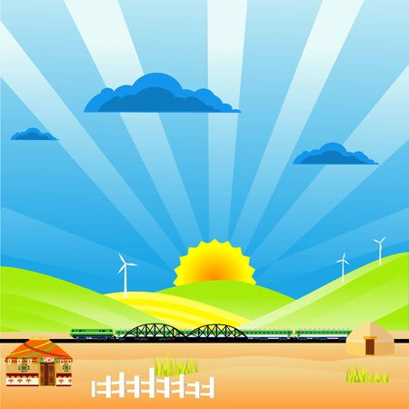 Flat illustration of Countryside view,  nomad houses, train on bridge on summer Kazakhstan Landscape vector. Sun and sun rays Illustration