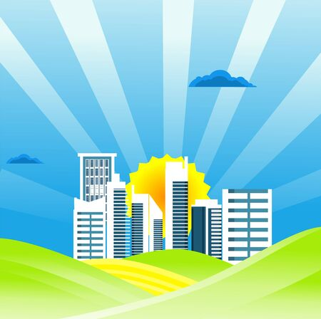 Flat illustration of City buildings in horizon  Countryside view, city and  on summer Landscape vector. Sun and sun rays