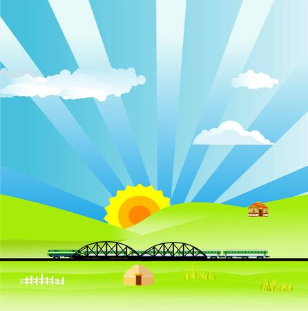 Flat illustration of Countryside view,  nomad houses, train on bridge on summer Kazakhstan Landscape vector. Sun and sun rays 일러스트