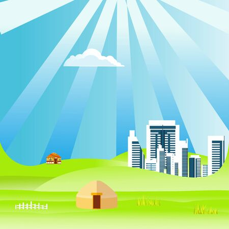 Flat illustration of Countryside view, city and nomad houses in summer Kazakhstan Landscape vector. Sun and sun rays 스톡 콘텐츠 - 127328223