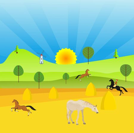 Flat illustration of Countryside view,  nomad houses, horses in summer Kazakhstan Landscape vector. Sun and sun rays