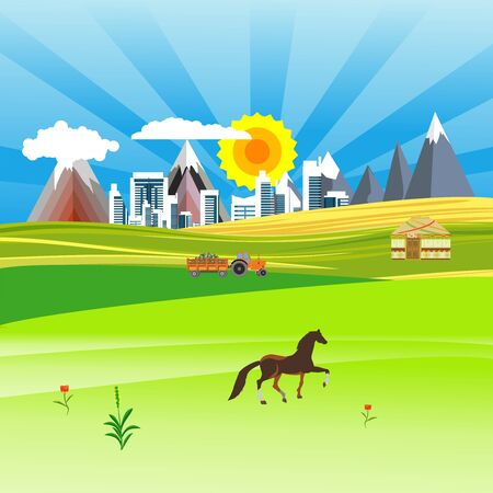 Flat illustration of Countryside view, city and nomad houses in summer Kazakhstan Landscape vector. Sun and sun rays 스톡 콘텐츠 - 127328232