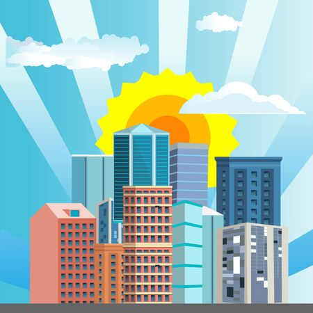 Urban landscape street with city buildings, ans  towers .  Town and clouds in the sky. vector