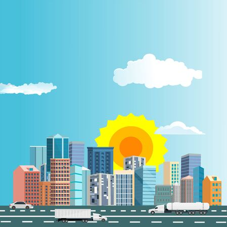 Urban landscape street with city buildings, ans cars towers .  Town and clouds in the sky. vector 스톡 콘텐츠 - 127328234