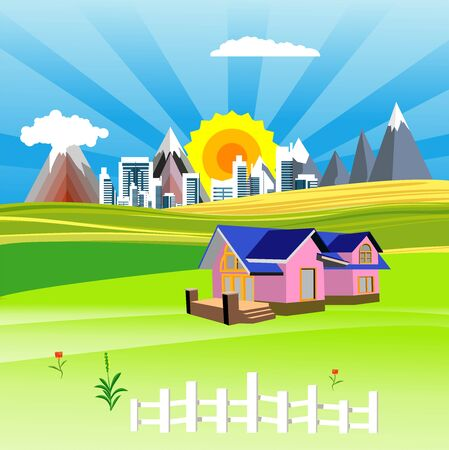 Flat illustration of Countryside view, farm village in summer Landscape vector. House,  Sun and sun rays 스톡 콘텐츠 - 127328235