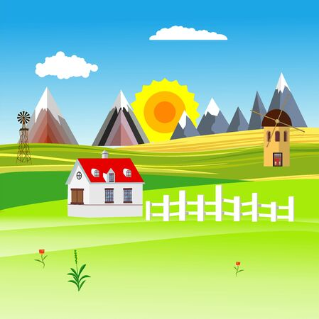 Flat illustration of Countryside view, farm village in summer Landscape vector. House,  Sun and sun rays
