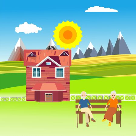 Flat illustration of Countryside view, farm village in summer Landscape vector. House and old people, Sun and sun rays 스톡 콘텐츠 - 127328237