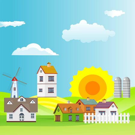 Flat illustration of Countryside view, farm village in summer Landscape vector. Sun and sun rays 스톡 콘텐츠 - 127328059