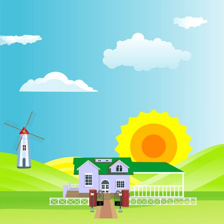 Flat illustration of Countryside view, farm village in summer Landscape vector. Sun and sun rays