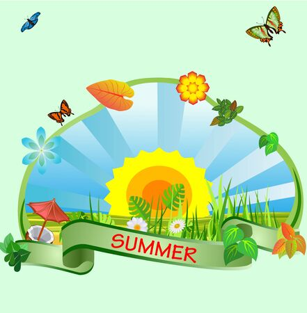 Summer time composition, birds and iscects, nature vector 일러스트