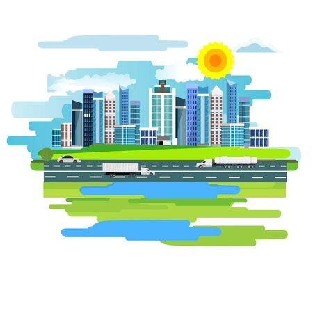 Abstract vector design of city and railroad and highway  on a meadow. Summer rural landscape. 스톡 콘텐츠 - 127328069