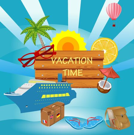 Vector Summer Vacation  illustration  on vintage wood background. Tropical , cruise liner, blue sky. Design template for banner, flyer, invitation