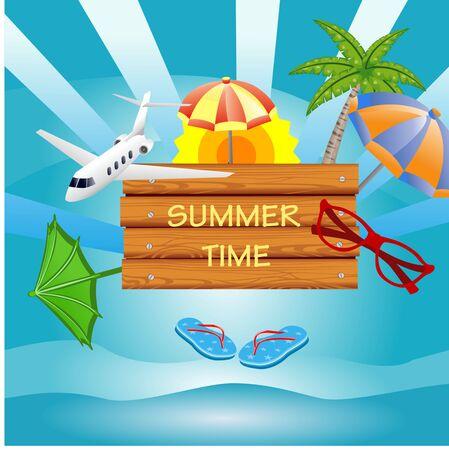 Vector Summer Vacation  illustration  on vintage wood background. Tropical islands, plane, train, blue sky. Design template for banner, flyer, invitation 일러스트