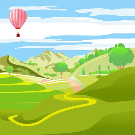 Countryside vector illustration, houses on the green hills, farm, highland, outdoor vector