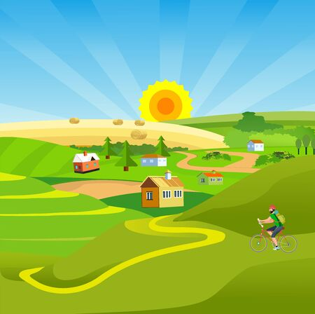 Countryside vector illustration, houses on the green hills, farm, lake outdoor vector Çizim