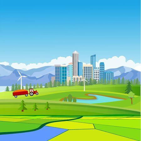 Countryside and Urban landscape  city buildings, towers . town and clouds in the sky. vector