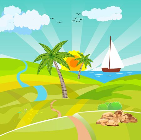 Countryside vector illustration, ship in the ses, the green hills, outdoor vector